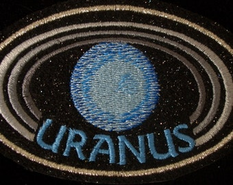 4 inch Uranus planet embroidered iron on patch