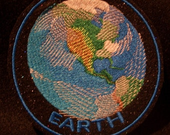 black sparkly felt 4 inch planet earth embroidered iron on patch