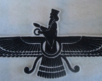 Made in the USA, Embroidered iron on Faravahar, Farvahar iron on patch