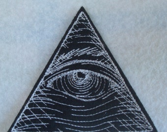 white on black  Embroidered Eye of Providence iron on patch