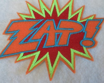 ZAP super hero embroidered iron on patch