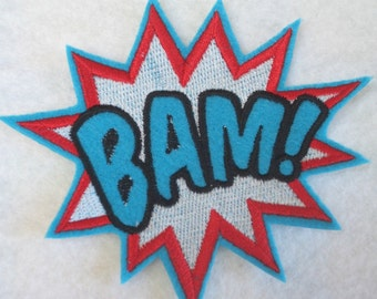 BAM super hero embroidered iron on patch