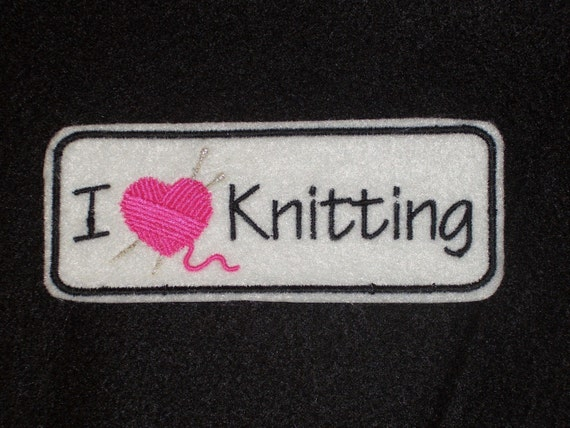 I heart knitting (embroidered) iron on patch