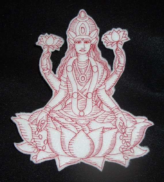 redwork embroidery lakshimi iron on patch