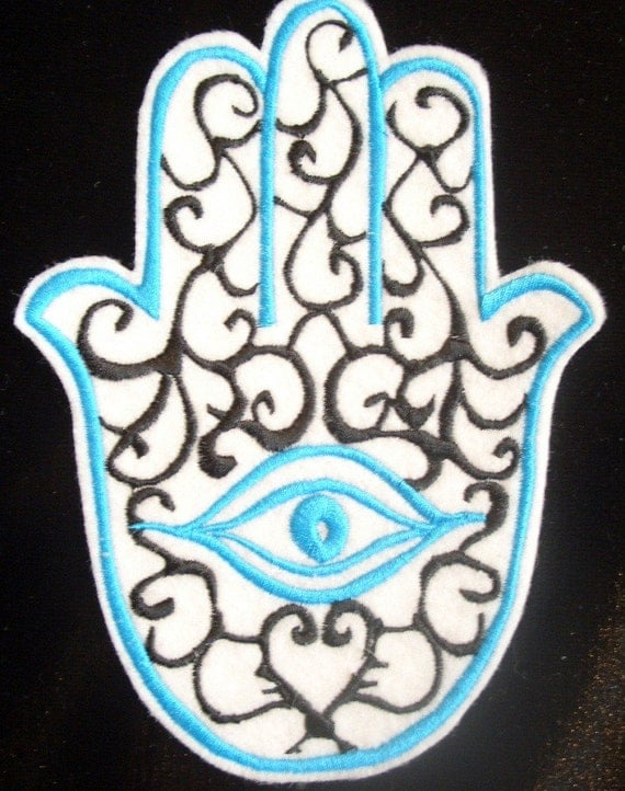 xtra large white eco felt with black and turquiose hamsa embroidered iron on patch