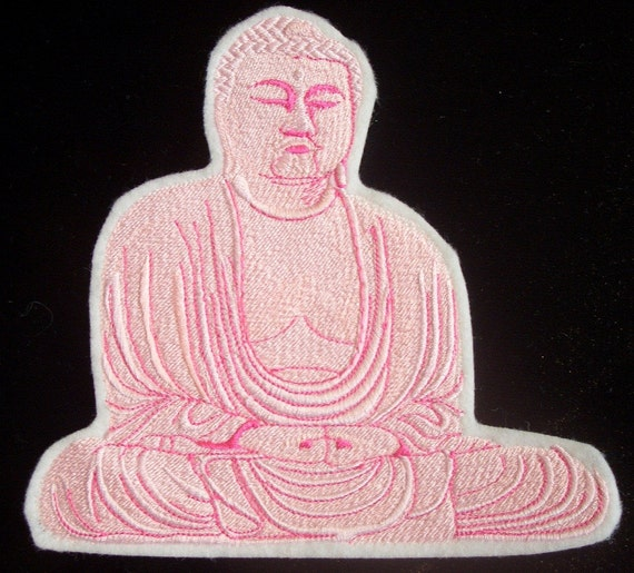 6.5 inch Pink Buddha embroidered iron on patch