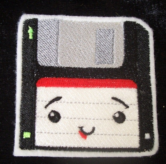 old school floppy disk embroidered iron on patch