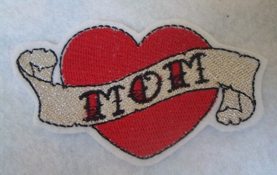 Mini Embroidered mom heart tattoo iron on patch