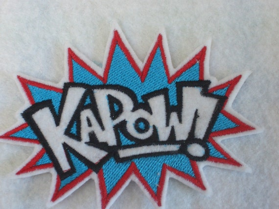 KAPOW super hero embroidered iron on patch