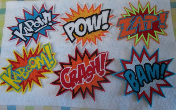 6 super hero embroidered illustration iron on patches