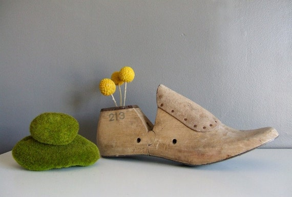 Medium Vintage Shoe Mold with Dried Craspedia