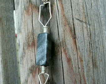 Stone and Wire Wrapped Arrow Pendant - Black and Gray