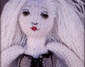 Elysium- goth pale amigurumi doll with ballet pointe feet