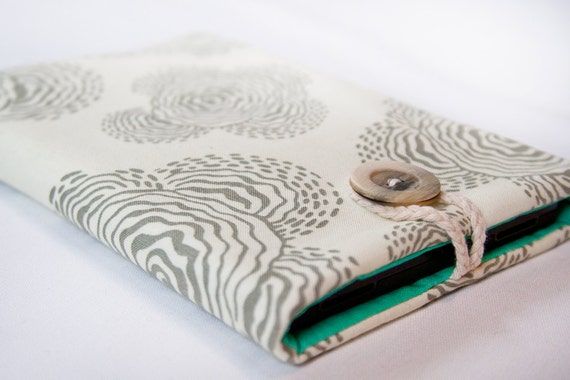Kindle Fire / Keyboard / 3G / Touch  and Nook sleeve cover - Floating Buds with teal