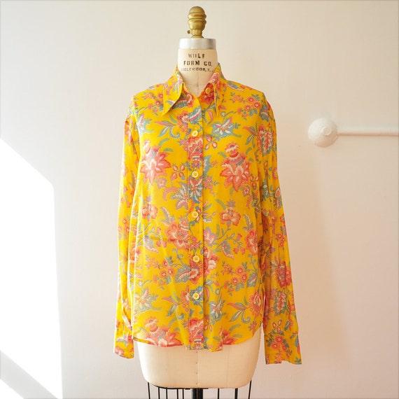 Vintage Yellow Floral Blouse Shirt M L