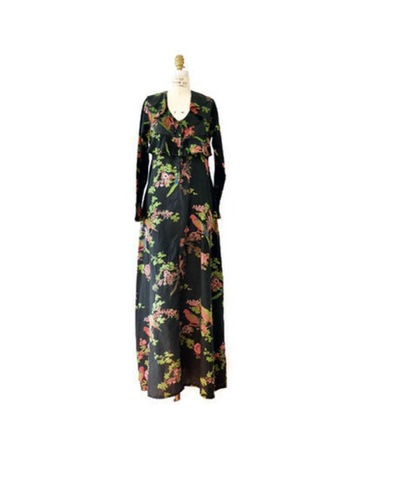 70s Floral Cotton Flounce Gown // tropical print S