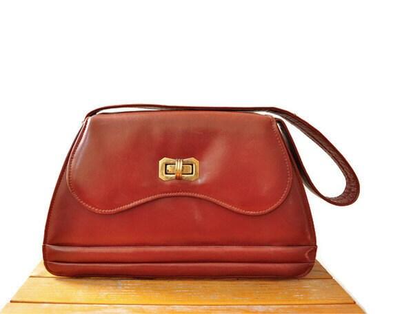 40s Calfskin Chestnut Brown Leather Handbag Purse