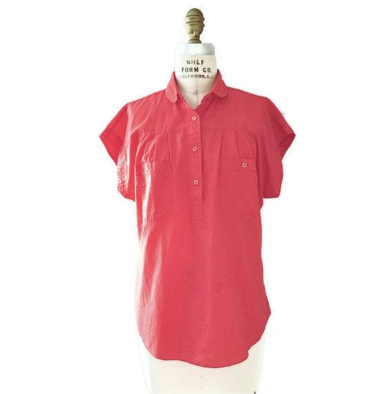 SALE // 80s Sunset Red Yoke Pleat Shirt M