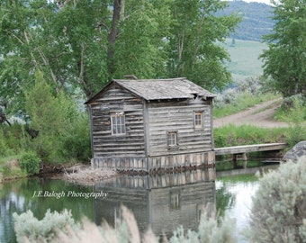 "Landscape Photography, Old Rustic Shack, Pond, Montana, Cottage, Nook,  ""The Hide Away"", 8x10"" Fine Art Print"