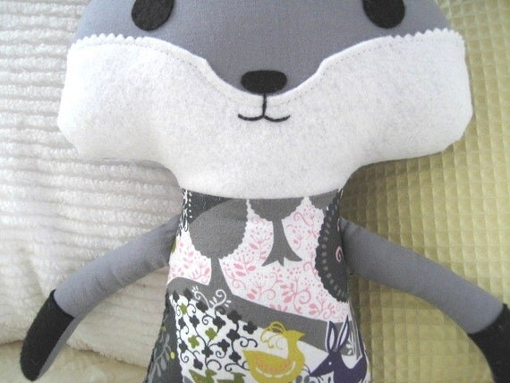 Plush Gray Fox Woodland Softie in RJR Yuko Hasegawa Once Upon a Time        With or Without Bow