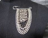 RESERVED FOR HELEN K. rock chic layered metal chain safety pin brooch