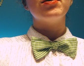 green and white houndstooth adjustable pre-tied bow tie for ladies and gents alike - one of a kind and happily handmade for you