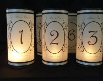 Table Number Luminary with Names and Wedding Date