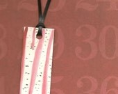 Birch Trees with red SKy Black Ribbon - Mini Moo Bookmark Tag