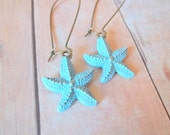 B E A C H Y - Turquoise Blue Hand Painted Antique Bronze Starfish Kidney Wire Hook Dangle Earrings