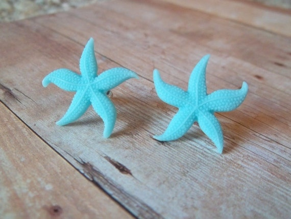 S T A R - Turquoise Blue Starfish Beach Resin Silver Post Earrings