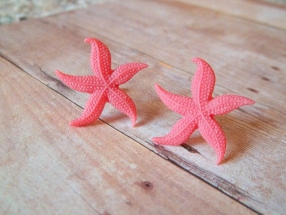 C O R A L - Coral Red Pink Starfish Beach Silver Post Earrings