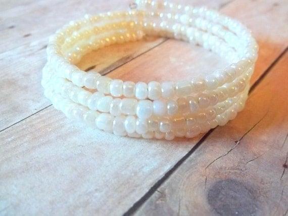 B L O N D E - Ivory White Pearl Glass Seed Bead Silver Memory Wire Wrap Bangle Bracelet