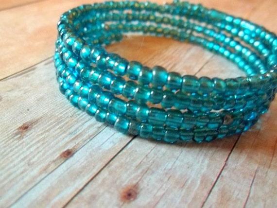 P O O L - Teal Blue Irradesant Glass Seed Bead Silver Memory Wire Wrap Bangle Bracelet