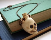 Skull Bottle Apothecary Necklace . Spooky Accessory