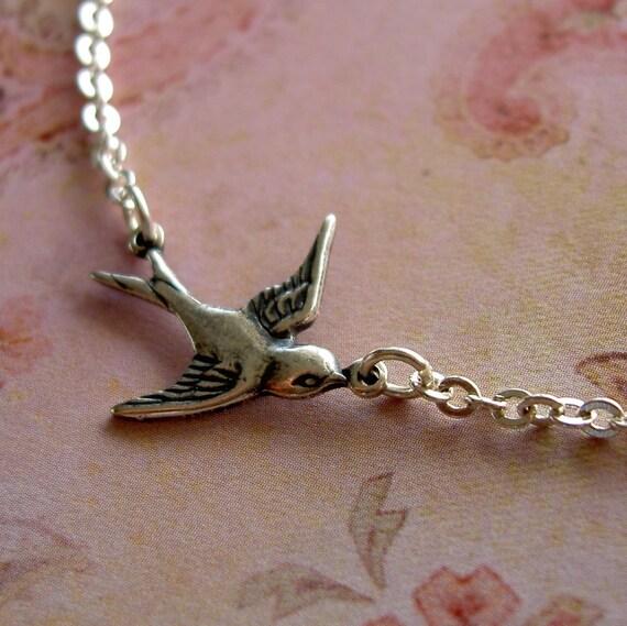 SALE - Sleek Silver Swallow Necklace