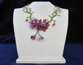 Lilac and Purple  Flower Necklace With green Leaves