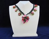 Pink Red and Purple Floral Necklace, Crochet Necklace, Pink Flower Necklace, Red Flower Necklace, Statement Necklace