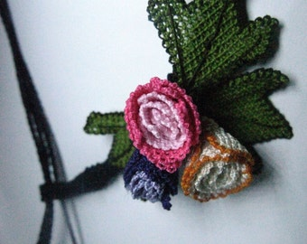 Purple,Pink,Beige Rose Buds Lariat Necklace, Crochet Necklace,Crochet Flower Necklace, lilac,Pink,White Flower Necklace,Rose Necklace,