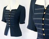 Blue Military Nautical Blouse Size M