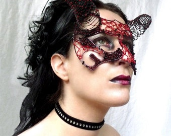 Devil masquerade ball mask, womens mask, costume, accessories, handmade mask, venetian mask