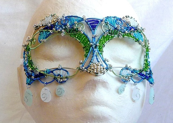 Silver and sea glass womens masquerade mask, costume, accessories, handmade
