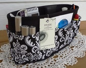 Purse ORGANIZER Insert SHAPER / Black and White Damask / 5 Sizes Available / Extra STURDY / Check out my shop for more colors & styles