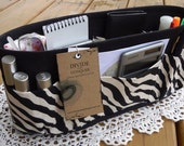 Purse ORGANIZER Insert SHAPER / Bag Organizer / Black Zebra on Black /STURDY / 5 Sizes Available /Check out my shop for more colors & styles