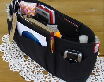 Black / Purse insert ORGANIZER SHAPER / STURDY / 5 Sizes Available / Purse Organizer / Check out my shop for more colors & styles