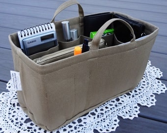 "Purse ORGANIZER Insert Shaper / 10.5"" x 6"" x 6""H / Rectangular / Stiff wipe-clean bottom option / Handles / STURDY / You Choose the Color"