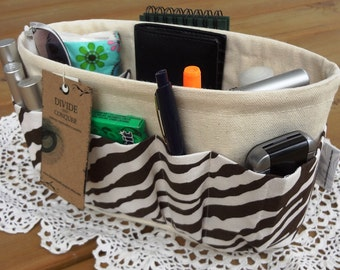 Purse ORGANIZER insert SHAPER / Brown Zebra on Natural / STURDY / 5 Sizes Available / Bag Organizer / Check out my shop for more colors
