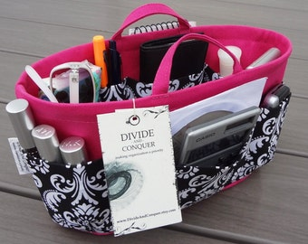 """Purse ORGANIZER insert Shaper / 10.5""""L x 4""""W / Wide-Oval Shape / Handles / With or without the stiff wipe-clean bottom / You Choose Color"""