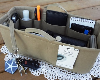 """Purse ORGANIZER Insert SHAPER / 12"""" x 4.5"""" / With handles, 1 extra option & stiff bottom / STURDY / You choose the color / Rectangular"""
