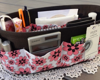 Purse ORGANIZER Insert SHAPER / Pink & Black Daisies / STURDY / 5 Sizes Available / Check out my shop for more colors and styles