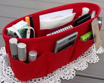 Red / Purse ORGANIZER insert SHAPER / Bag organizer / STURDY / 5 Sizes Available / Check out my shop for other colors & styles